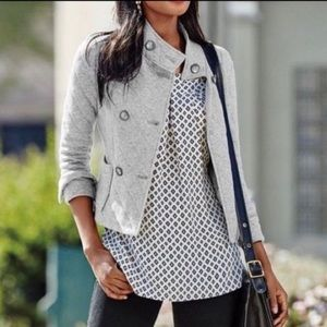 CAbi silver gray quilted double breasted coat